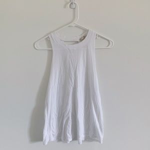 7 FOR ALL MANKIND WHITE TANK WITH TRIANGLE CUT-OUT